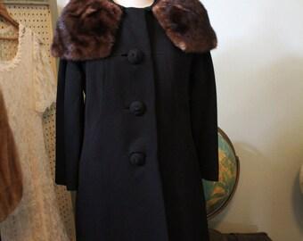 Great 1950s Adoph Blank Mink Trimmed Vintage Coat