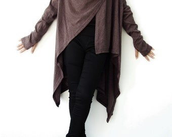 NO.61 Dusty Brown Cotton-Blend Jersey Versatility Cardigan, Wrap Top, Women's Cardigan