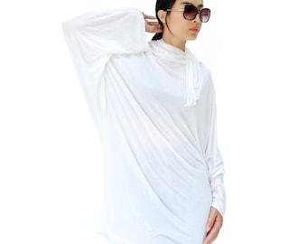 NO.188 White Rayon Classic Batwing Long Sleeve Tunic, Slouchy Fold-Over Neck Top, Women's Tunic