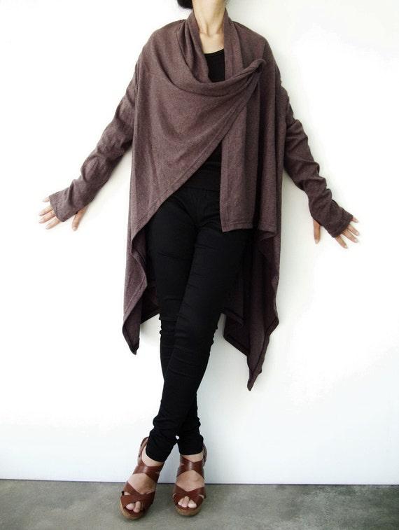 NO.61 Dusty Brown Cotton-Blend Jersey Versatility Cardigan, Wrap Top, Women's Cardigan