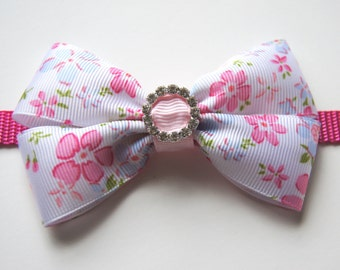 Floral Pink Bow Dog Collar Attachment