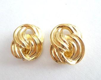 Gold Multi Rope Linked Vintage Clip Earrings