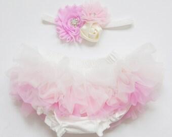 Tutu Bloomers - Ombre Ivory Pink & flower crystal Crown headband - diaper cover ruffle newborn bloomers cake smash set newborn
