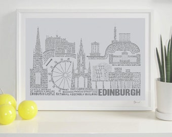 Edinburgh Skyline Typography Print