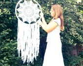 Extra Large Dream Catcher for Wedding or Nursery Decor - Bohemian Decoration, Interior Design, Tribal Decor, Crochet Dreamcatcher