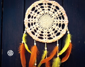 Dream Catcher - Summer Sunrise - With Transitional Crochet Web and Pure Yellow-Orange Feathers - Mobile, Home Decor, Decoration