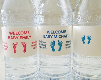 20 Personalized Pink or Blue Footprint Theme Waterproof Water Bottle Labels/Stickers for Girl or Boy Baby Shower - Makes Great Party Favors!