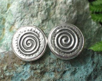 Spiral Silver Cufflinks Embossed in Metal