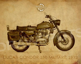 DUCATI CONDOR 350 MILITARE 1973, 14x10 in and more. trending home decor, trend art print, gift for men