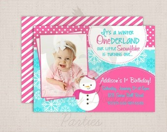 Winter ONEderland Girly Snowman Hot Pink & Blue Birthday Party Printable Invitation Digital File