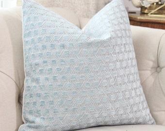 Blue Geometric Velvet Pillow Cover - Geometric Pillow Cover - Designer Blue Pillow - Light Blue Pillow - Powder Blue and Gray Pillow