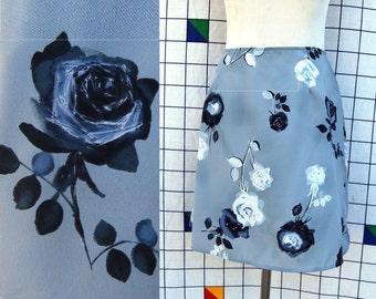 BLUE VELVET ROSES Light Blue Floral Print AAll Over A Line Skater Skirt