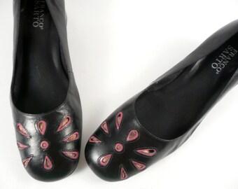 Vintage 90s Preppy Franco Sarto Black Pink cut out flower Flats Loafers Pumps Shoes 8.5 M