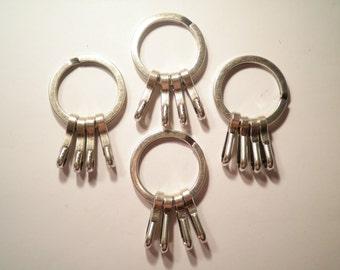 4 Vintage Silverplated Keyrings