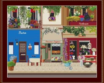 French Street Cross Stitch Pattern