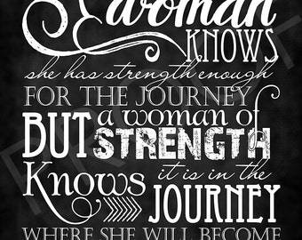 "Chalkboard Art ~ Quote ""Woman of Strength"""