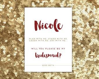 Gold Bridesmaid Card Printable Bridesmaid Ask Will You Be My Bridesmaid Matron of Honor DIY Bridesmaid Proposal Bridesmaid Gift