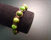 Green and Tan Macrame Shamballa Style Bracelet by MICH RICH (Bohemian Wrapsody Collection)