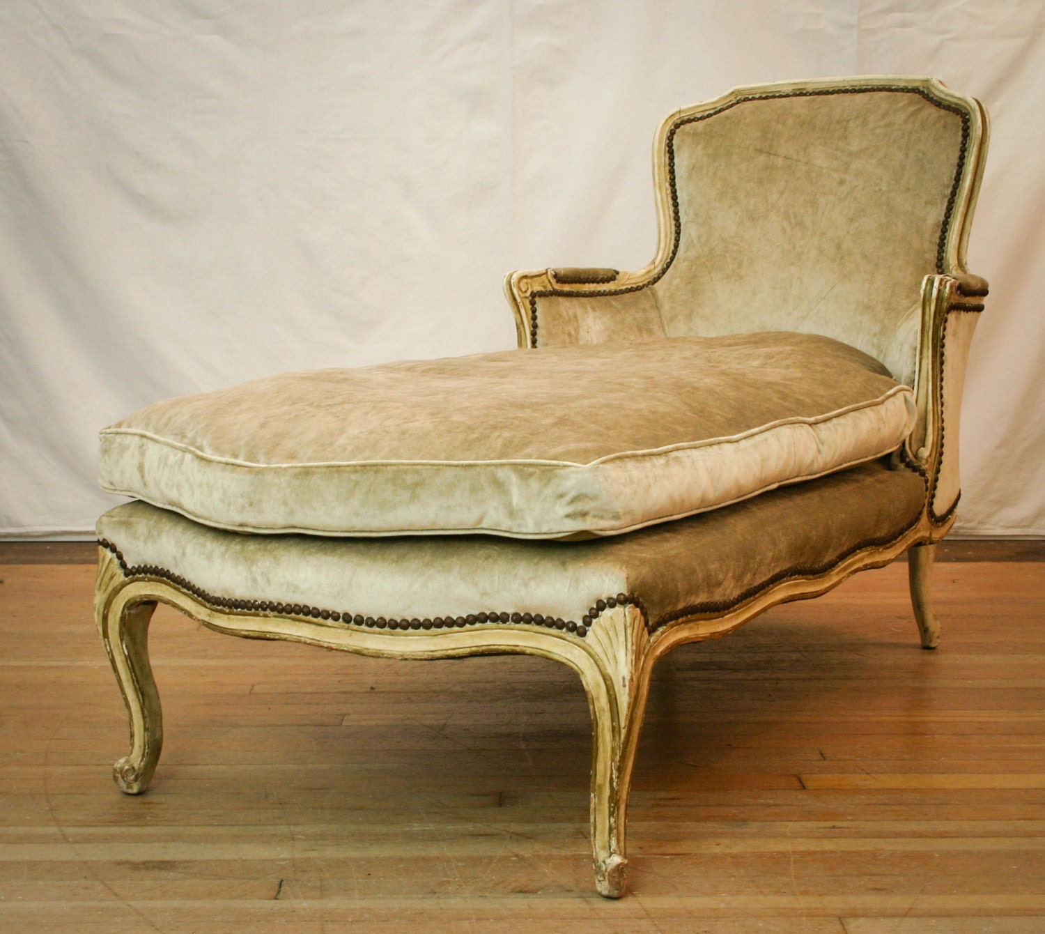 antique french silk velvet nailhead trim chaise lounge haute juice. Black Bedroom Furniture Sets. Home Design Ideas