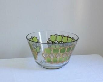 Pasinski Washington Vintage Mid Century Large Glass Punch Bowl with 22kt Gold and Olive Green Geometric Pattern - Hollywood Regency Barware