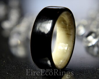 Deer antler ring with aincent Irish bog Oak wood