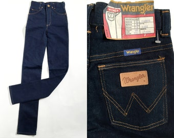 Vintage Girl's Wrangler Navy Blue Jeans / Extra Long Jeans