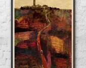 Italian Landscape Print by D McConochie / Collage Wall Art / Red Wall Art / Civita Di Bagnoregio