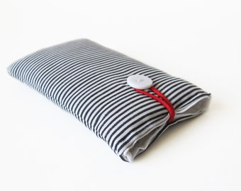 cover for iPhone 5 5S 5C blue and white striped handmade bag fabric case maritime