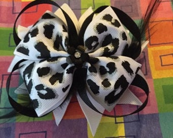 Leopard Black and White Bow