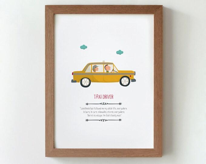 """Ilustración """"Taxi Driver"""". Basada en la película de Martin Scorsese."""