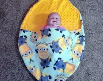 Minion Snuggle Sack , Stroller Blanket, Carrier blanket , Crib Blanket, Use In Wagon, No More Kicking the Blanket Off!!!