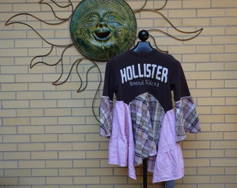Upcycled Funky Hollister Tunic Top 36 inch Bust