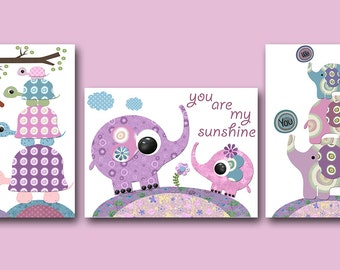 Purple Pink Elephant Wall Art Turtle Wall Art Nursery Qutes Baby Girl Nursery Art Print Kids Art Playroom Print Childrens Art set of 3