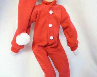 Red PJs and Nightcap for Christmas Elf with personalized name