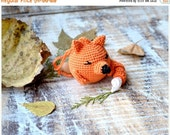 Baby rattle Toy  Fox  Forest Woodland animal Crochet Animals Wild animal Orange black white green Autumn color