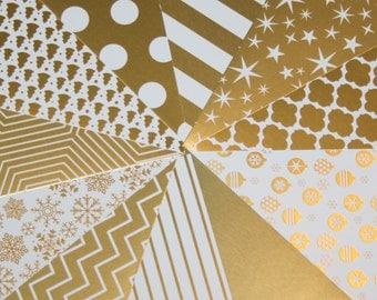 Christmas Scrapbook Paper, White & Gold Foil, 6x6, Christmas  Scrapbook, Holiday Paper, Stars, Ornament, Snowflake, Polka Dot, Destash