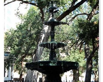 Bienville Square Fountain Photo - Mobile Park Photo - Garden Wall Art - Downtown Mobile - Fountain Print - Outdoor Fountain Photo