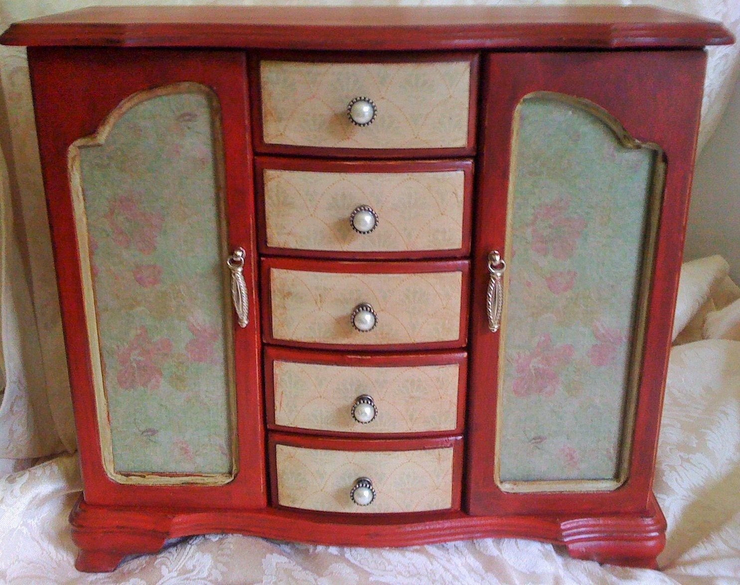 Large Dark Red Jewelry Box Armoire With Pearl Drawer Pulls And