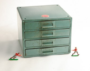 Vintage metal tool drawers chest – Industrial storage – tools parts drawers green metal cabinet – supplies storage