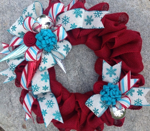 Red Turquoise Not Just For Holiday Decor: Items Similar To Christmas Wreath, Red, White & Teal