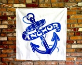 CLEARANCE Anchor Tea Towel: Nautical Anchor Vintage Advertising Art, Oversized Print, Kitchen Gift for Him, Beach Theme, Boating, Fishing