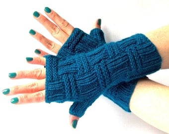 Knit Fingerless Gloves. Teal Knitted Fingerless Mittens. Knit Wrist Warmers. Hand Knit Gloves. Driving Women Gloves.