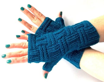 SALE - 30% OFF! Knit Fingerless Gloves. Teal Knitted Fingerless Mittens. Knit Wrist Warmers. Hand Knit Gloves. Women Gloves.