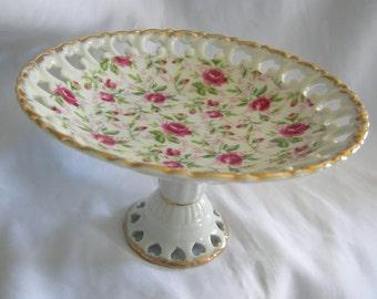 Pedestal Candy Pastry Dish by Lefton | Rose Motif | Vintage