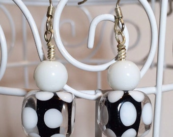 Handmade 'Lotsa Dots' Lampwork Earrings with Silver Tone French Wires