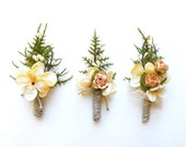 Mens Wedding Boutonniere, Rustic Boutonniere, Woodland Wedding, Rose Boutonniere, Grooms Lapel Pin, Womans Pin Corsage, Mens Buttonhole