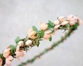 Flower Girl Crown, Flower Crown, Peach Bridal Headpiece, Peach Flower Crown, Flower Headdress, Head Wreath, Woodland Crown, Floral Crown