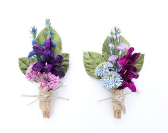 Wedding Boutonniere, Womans Corsage, Rustic Boutonniere, Spring Wedding, Blue & Purple Wedding, Grooms Lapel Pin, Womans Pin Corsage
