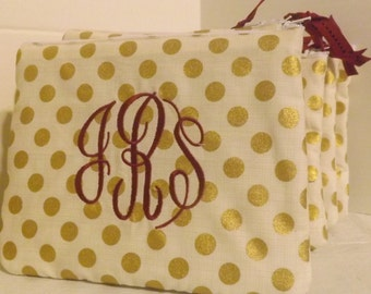 Gold dots cosmetic  bags, Bridesmaids, Wedding Party items, Cheerleader Squads,Birthday gifts, Monograms included. .group prices