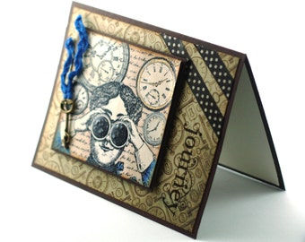 Steampunk Journey through time Clockworks blank card, victorian